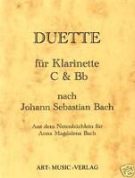 DUETTE   C &  Bb KLARINETTE  NACH J.S. BACH ( NOTEN )