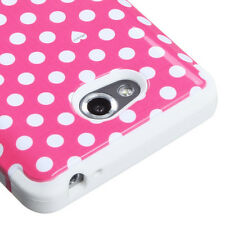 For MetroPCS LG Spirit 4G MS870 IMPACT TUFF HYBRID Case Phone Cover Pink Dots