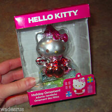 Brand New HELLO KITTY on Gift Box w/Candy Cane - Christmas Tree Holiday Ornament