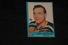 HOF LEO BOIVIN 1962-63 TOPPS SIGNED AUTOGRAPHED CARD #5 BRUINS