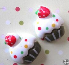 "US SELLER- 20 x 3/4"" Resin Ice Cream w/Strawberry Flatback Beads for Card SB332W"