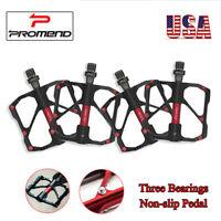 PROMEND MTB Bike Chrome-molybdenum 3 Bearings Ultralight Non-slip 1 Pair Pedals