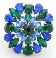 Vintage Silver Tone Blue Green Rhinestone 3D Flower Pin Brooch