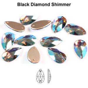 Genuine SWAROVSKI 3230 Pear Drop Flat Sew-On Stones Crystals * Many Sizes