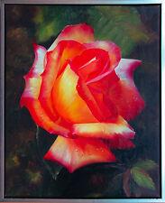 Henri Gautier *1955 Hyper-Realismus Rose in Orange-Gelb, Öl-Leinwand 60 x 50 cm