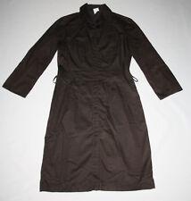 HUGO BOSS Damen Hemd Kleid Braun Lang 3/4 Arm Freizeit Lässig 38 Schlicht °BC71