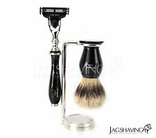 Luxury Trio Silver Tip Brush & Gillette Mach3 Razor & Stand Shaving Set for Men