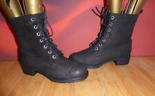 *39* DOROTHY PERKINS BLACK LEATHER  NUBUCK ANKLE COMBAT BOOTS  UK 5 EU 38