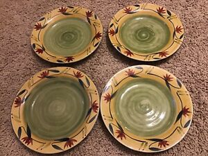 "Lot Of 4 Pier 1 Elizabeth 11-1/2"" Hand Painted Stoneware Dinner Plates"