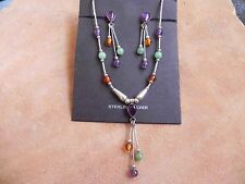 Amethyst, Amber, Aventurine & Liquid Silver Necklace & Earrings Quoc Turquoise