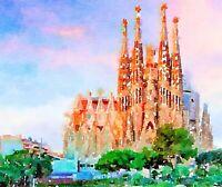 Sagrada Familia, Barcelona, Watercolor Print, 8.5x11, Home Wall Art, Spain