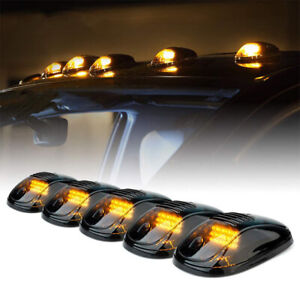 5x 12LED Smoked Cab Roof Top Marker Running Clearance Warm Light For Truck SUV