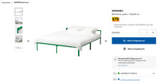 IKEA GRIMSBU BED FRAME LUROY SLATTED BED BASE FRAME DOUBLE SIZE QUEEN KING
