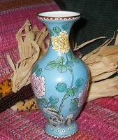 Vintage Chinese Cloisonne Enamel Roses Leaves Rock Blue Temple Vase