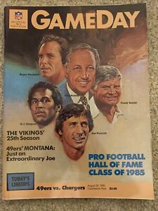 Game Day Magazine August 1985 SF 49ERS VS  CHARGERS 1989 PRO FB HALL of FAME '85