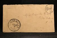 Ohio: Lindenville 1850s Stampless Cover, Black CDS, Circled PAID 3, Ashtabula Co