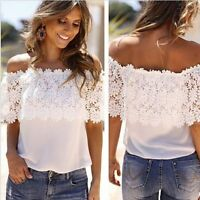 Summer Women Lace Vest Top Tank Casual Blouse Tops Off Shoulder T-Shirt S-6XL
