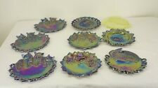 Antique Carnival Glass 9 PC Lot Iridescent PLATES WESTMORELAND Bear Cat Rabbit