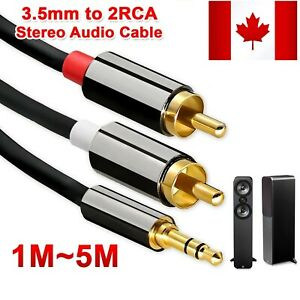 New Twin RED WHITE 2x RCA PHONO to Stereo 3.5mm Mini Jack STEREO Audio Aux Cable