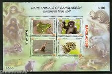 Bangladesh 2011 Rare Animals Frog Monkey River Dolphin Leopard Cat M/s MNH #7783