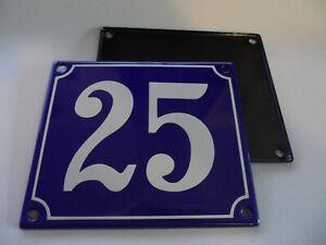 Old French Blue Enamel Porcelain Metal House Door Number Street Sign / Plate 25