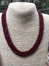 GENUINE TOP NATURAL 3 Rows 2X4mm FACETED RED RUBY BEADS NECKLACE 17-19""
