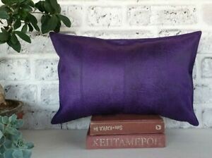 Purple four-piece model faux lether fabric lumbar pillow cover -1qty