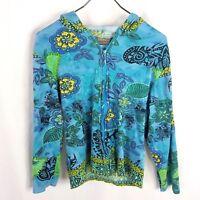 Jane Ashley Hoodie Large Blue Green Floral w/ Bling Long Sleeve Full Zip Womens