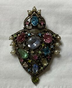 Vintage Signed HOLLYCRAFT Pin Brooch Green And Clear Rhinestone Corp 1950