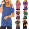 Womens Tunic Tops Short Sleeve Cold Shoulder Blouse T-Shirt Casual Tee Summer