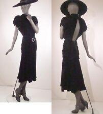 1930s Style Black Silk Velvet Evening Dress Backless Rhinestones Sz 8 #1515