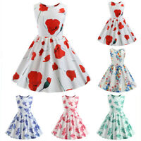 Toddler Kids Baby Girls Dress Sleeveless Print Princess Party Pageant Tutu Dress