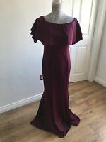 BNWT Coast Chloe Bardot Maxi Merlot Dress - Formal/Party - Size UK 14