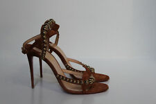 sz 9.5 / 40 Christian Louboutin Galeria Brown Suede Leather Ankle Sandal Shoes
