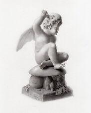 """Sweet HARRIET HOSMER 1800s Engraving """"Shakespeare's Little Puck"""" FRAMED FREE COA"""