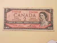 ➡➡UNGRADED 1954 BC-38d Nice Bank of Canada $2 M/G7447098 Circ No Devil
