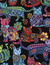 Cat Coloring Black Cats Cotton Timeless Treasures Fabric #6932 By the Yard