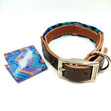 Vtg Embroidered Leather Dog Collar Hand Made Chiapas Mexico Blue Purple Boho