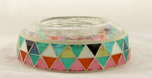 Glowing Montage Mosaic Crackle Glass Raised Tray Yankee Candle NEW pillar jar
