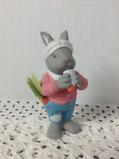 Department 56 Easter Bunny Drinking from Cup & Carrot In Pocket Made In Taiwan