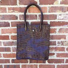 Ralph Lauren Safari Brown Handbag Tote Bag Faux Croc Pattern Purse