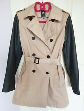 Atmosphere beige trench coat w/ leather sleeves size 12 UK 38 EU