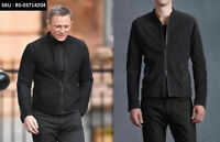 SPECTRE JAMES BOND MOROCCO BLACK PURE SUEDE LEATHER DISCOUNTED JACKET - BNWT