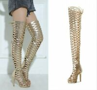 Womens Stiletto Heels Open Toe Back Zip Over The Knee  Boots Sandals Shoes Club