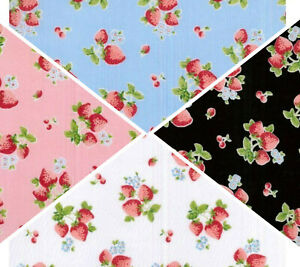 FABRIC POLYCOTTON FQ HALF METRES Strawberries Blue Pink Black Red Material Craft