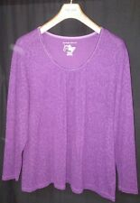 JUST MY SIZE Womens Plus Size 3X 22W 24W Purple Top Blouse Shirt Floral Flowers