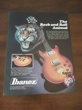 """1981 VINTAGE Print Ad for Ibanez Guitars """"The Rock and Roll Animal"""" Tiger Maple"""