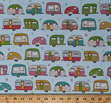 On the Road Metallic Campers Trailers Aqua Cotton Fabric Print BTY D584.32