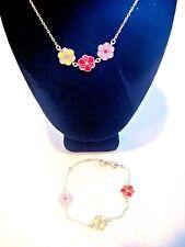 SWAROVSKI Signed Goldtone Enamel Flower and Crystal Necklace & Bracelet Set 444