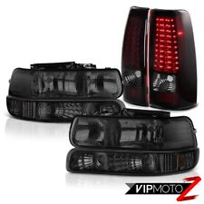 1999 2000 Chevrolet Silverado 2500 Smoke Bumper+Head Lamps Red LED Tail Light